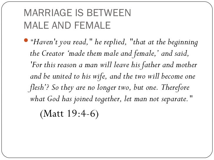 Same sex marriage should not be legal