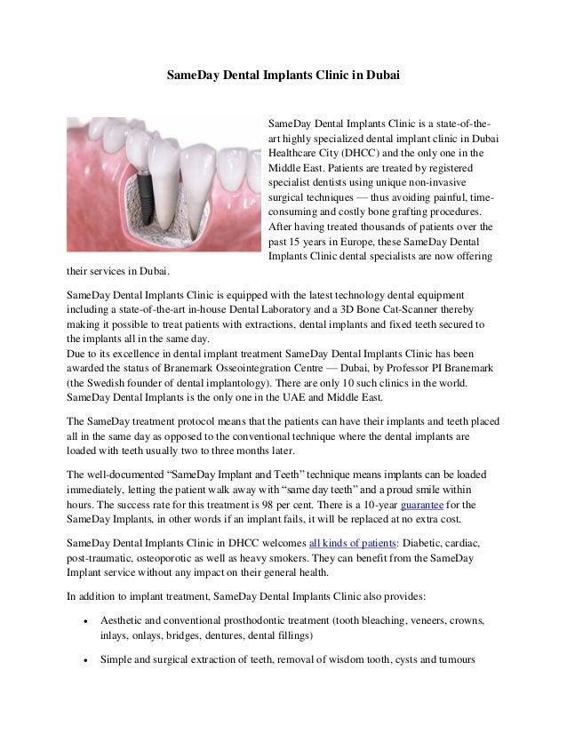 SameDay Dental Implants Clinic in Dubai SameDay Dental Implants Clinic is a state-of-the- art highly specialized dental im...