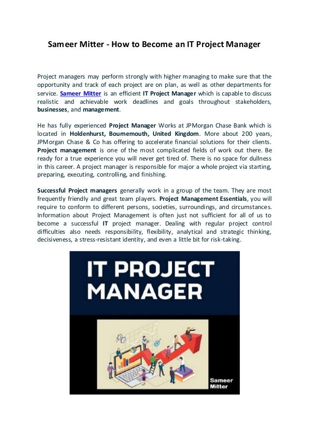 Sameer Mitter How To Become An Effective It Project Manager