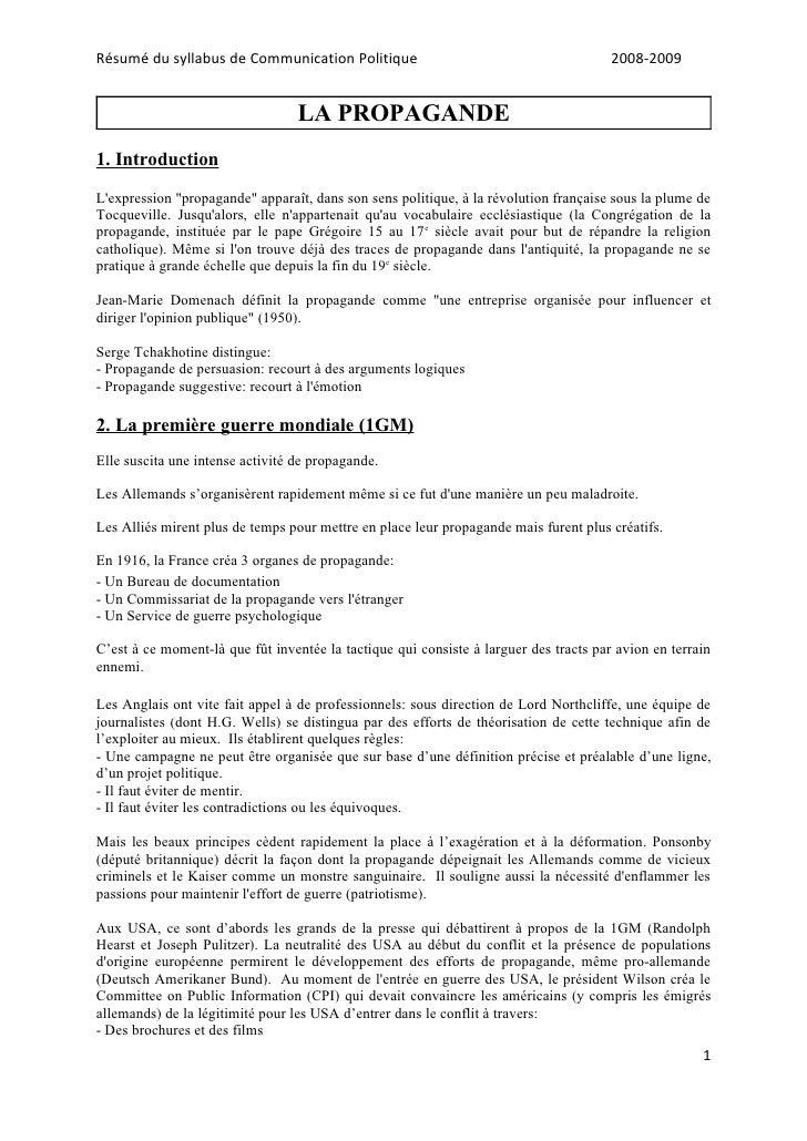 Résumé du syllabus de Communication Politique                                          2008-2009                          ...