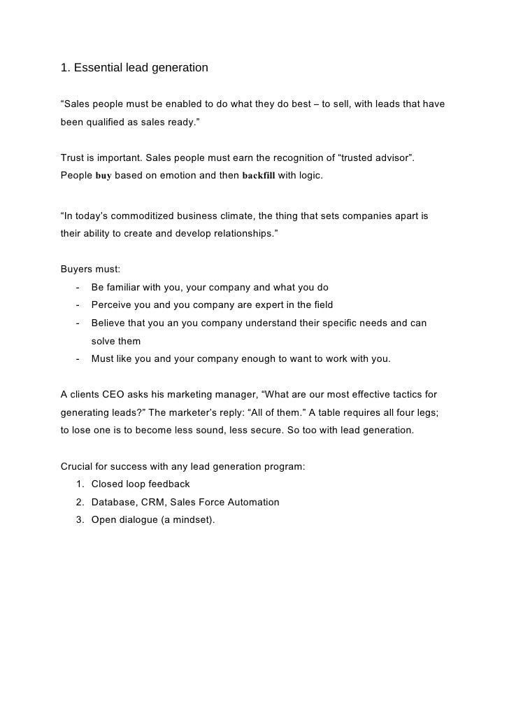 summary lead generation for the complex sale brian j carrol