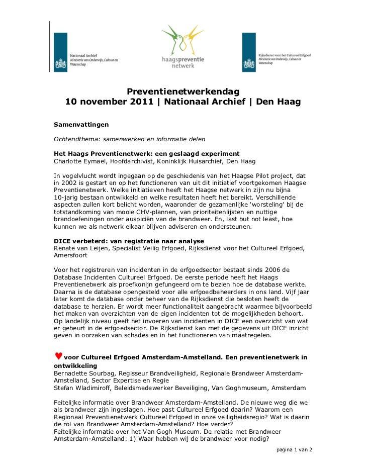 Samenvattingen preventienetwerkendag 10 nov11