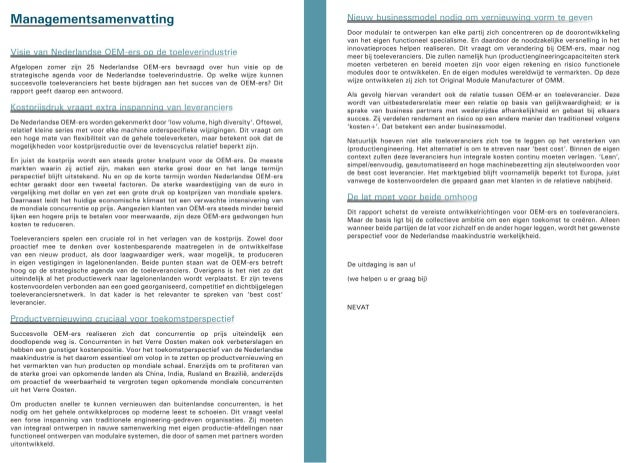 ABN AMRO Raising The Bars: strategische agenda voor de Nederlandse toeleverindustrie, okt 2008