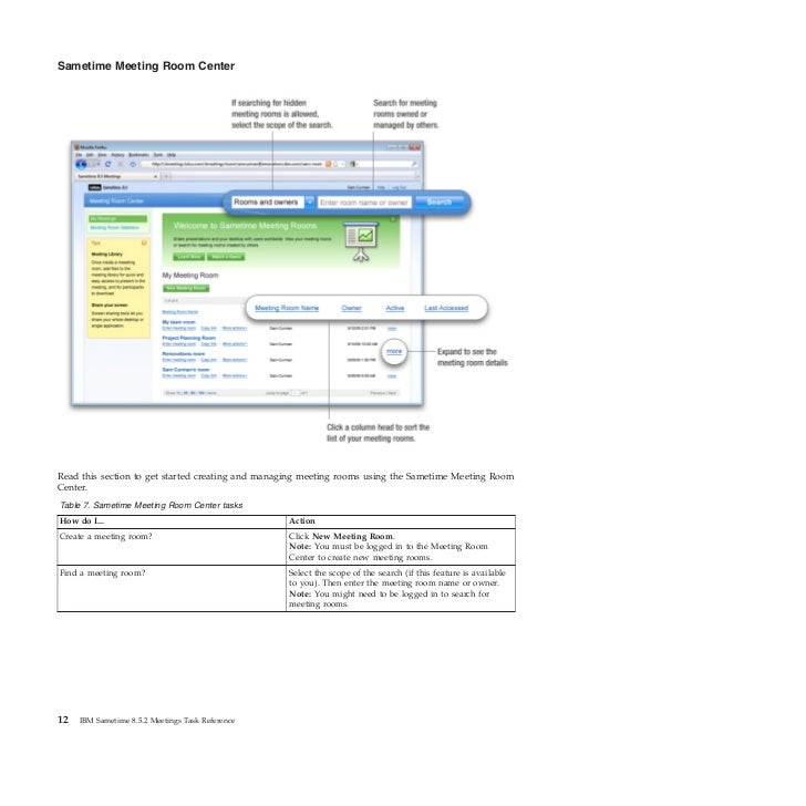 Sametime Meeting Room CenterRead this section to get started creating and managing meeting rooms using the Sametime Meetin...