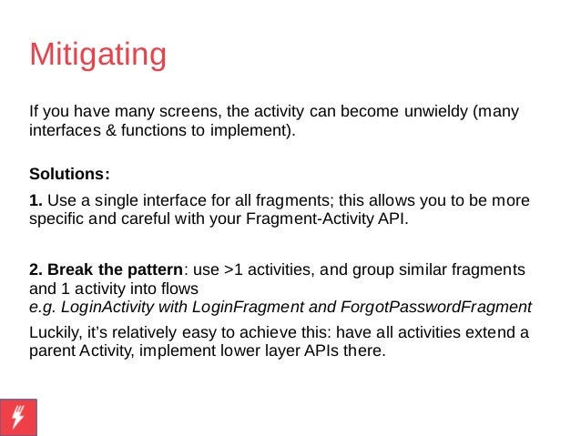 Android: the Single Activity, Multiple Fragments pattern