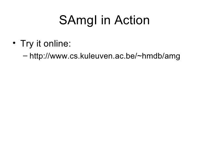SAmgI in Action <ul><li>Try it online: </li></ul><ul><ul><li>http://www.cs.kuleuven.ac.be/~hmdb/amg </li></ul></ul>
