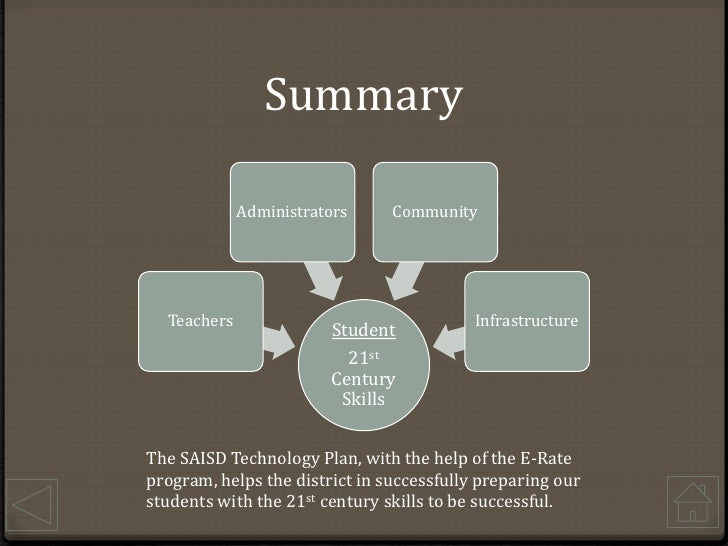 Summary<br />The SAISD Technology Plan, with the help of the E-Rate program, helps the district in successfully preparing ...