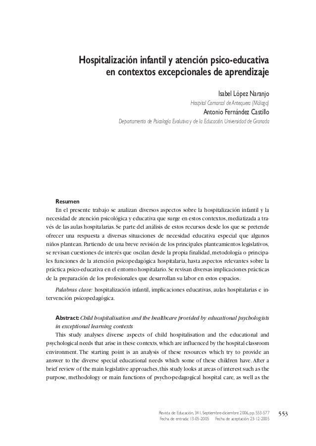 Hospitalización infantil y atención psico-educativa en contextos excepcionales de aprendizaje Isabel López Naranjo Hospita...