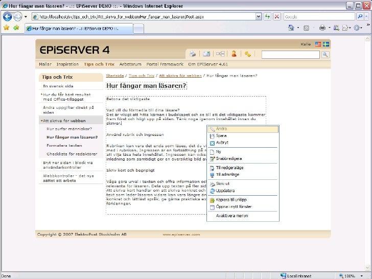 1. Redigeringsläge   även för andra webbläsare än IE