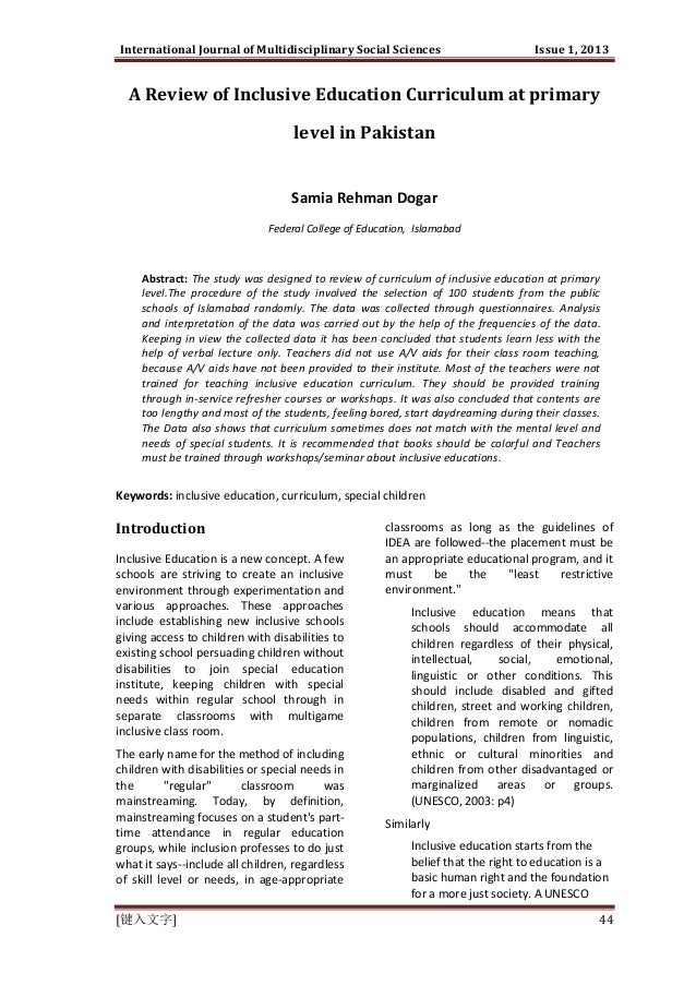 International Journal of Multidisciplinary Social Sciences  Issue 1, 2013  A Review of Inclusive Education Curriculum at p...