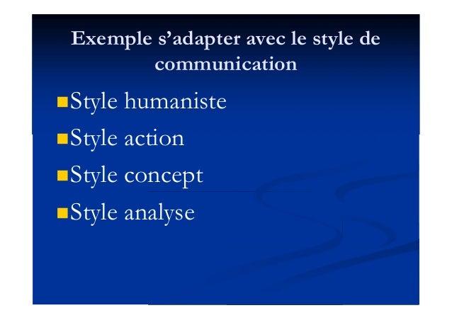 Exemple s'adapter avec le style de communication Style humaniste Style action Style concept Style analyse