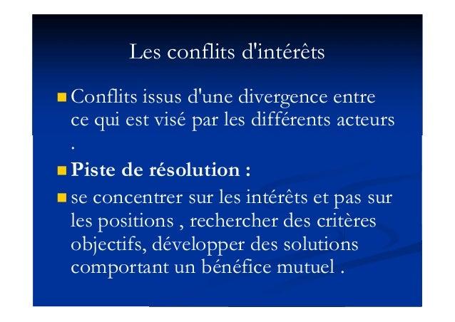 Les conflits d'intérêts  Conflits issus d'une divergence entre ce qui est visé par les différents acteurs .  Piste de ré...