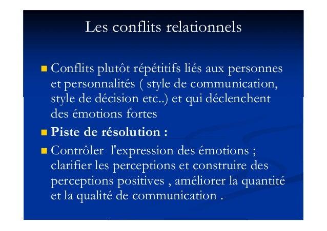 Les conflits relationnels  Conflits plutôt répétitifs liés aux personnes et personnalités ( style de communication, style...