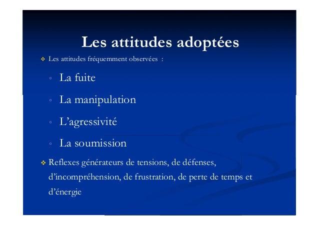 Les attitudes adoptées  Les attitudes fréquemment observées : ◦ La fuite ◦ La manipulation ◦ L'agressivité ◦ La soumissio...