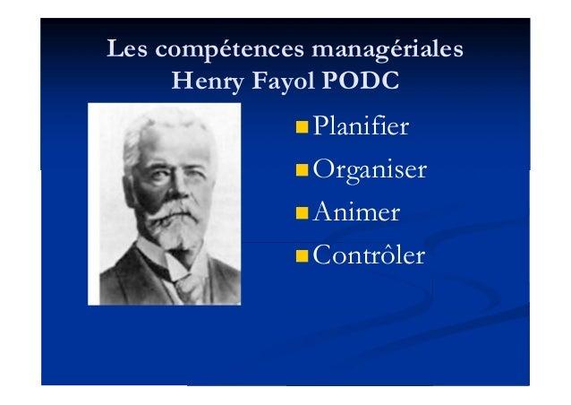 Les compétences managériales Henry Fayol PODC Planifier Organiser Animer Contrôler