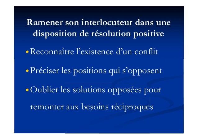 Ramener son interlocuteur dans une disposition de résolution positive  Reconnaître l'existence d'un conflit  Préciser le...