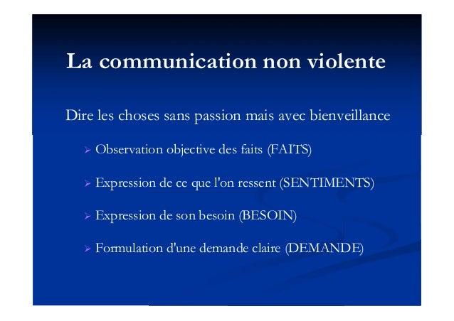 La communication non violente Dire les choses sans passion mais avec bienveillance  Observation objective des faits (FAIT...