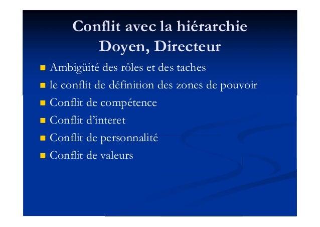 Conflit avec la hiérarchie Doyen, Directeur  Ambigüité des rôles et des taches  le conflit de définition des zones de po...