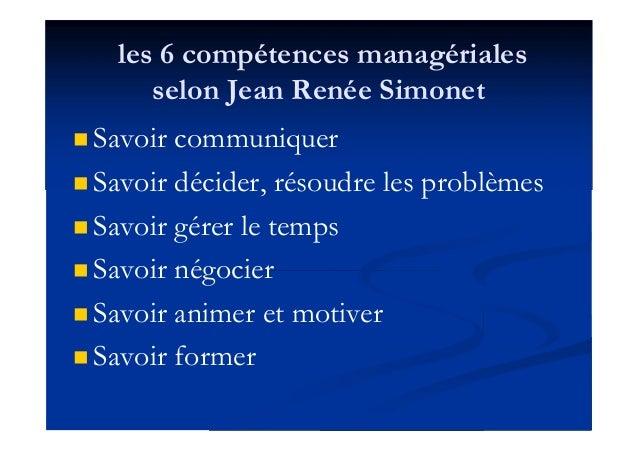 les 6 compétences managériales selon Jean Renée Simonet  Savoir communiquer  Savoir décider, résoudre les problèmes  Sa...