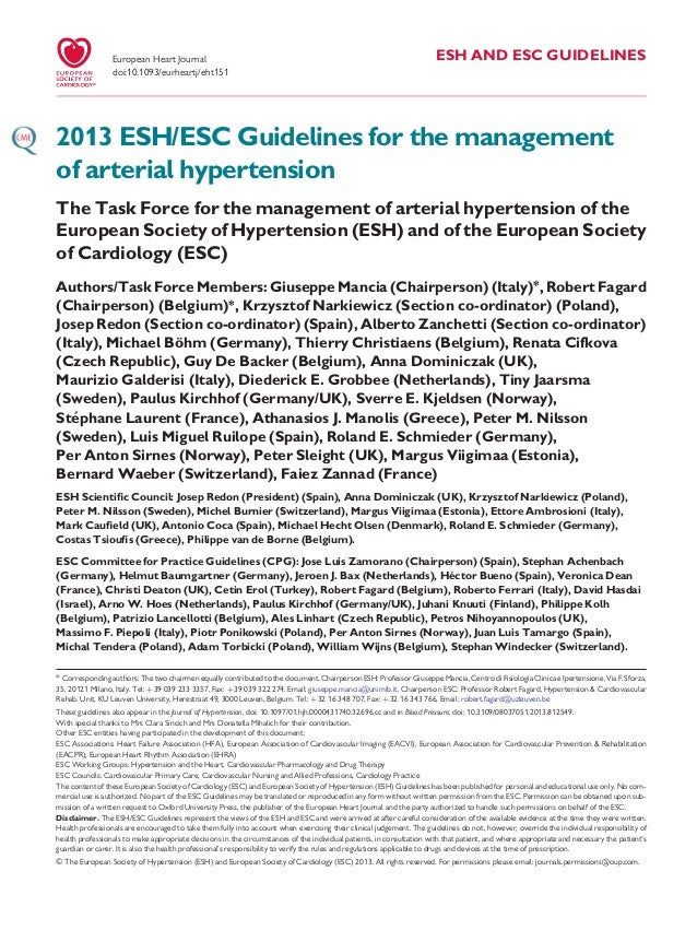 ESH AND ESC GUIDELINES2013 ESH/ESC Guidelines for the managementof arterial hypertensionThe Task Force for the management ...