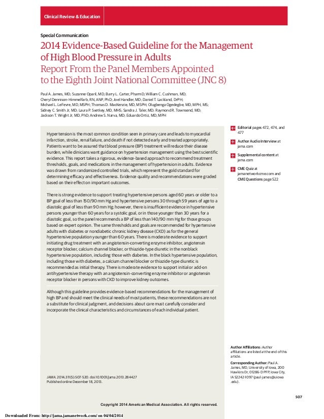 Copyright 2014 American Medical Association. All rights reserved. 2014 Evidence-Based Guideline for the Management of High...