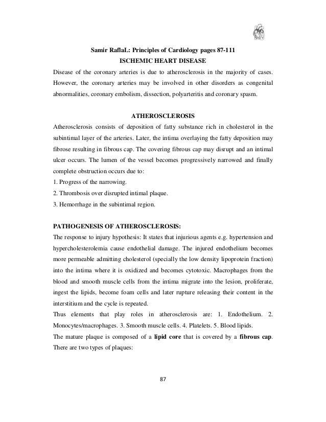 Samir RaflaL: Principles of Cardiology pages 87-111                           ISCHEMIC HEART DISEASEDisease of the coronar...