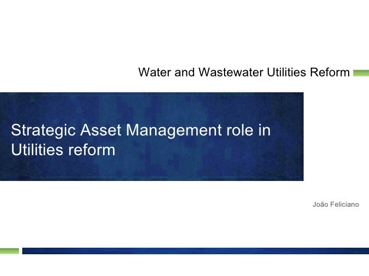 Water and Wastewater Utilities ReformStrategic Asset Management role inUtilities reform                                   ...