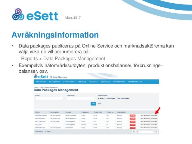 10 Avräkningsinformation • Data packages publiceras på Online Service och marknadsaktörerna kan välja vilka de vill prenum...