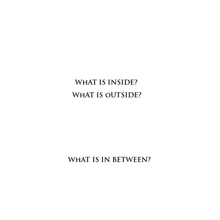 WhAT IS INSIDE?WhAT IS oUTSIDE?WhAT IS IN BETWEEN?