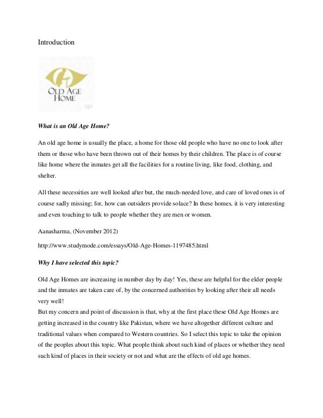 Old age home essay