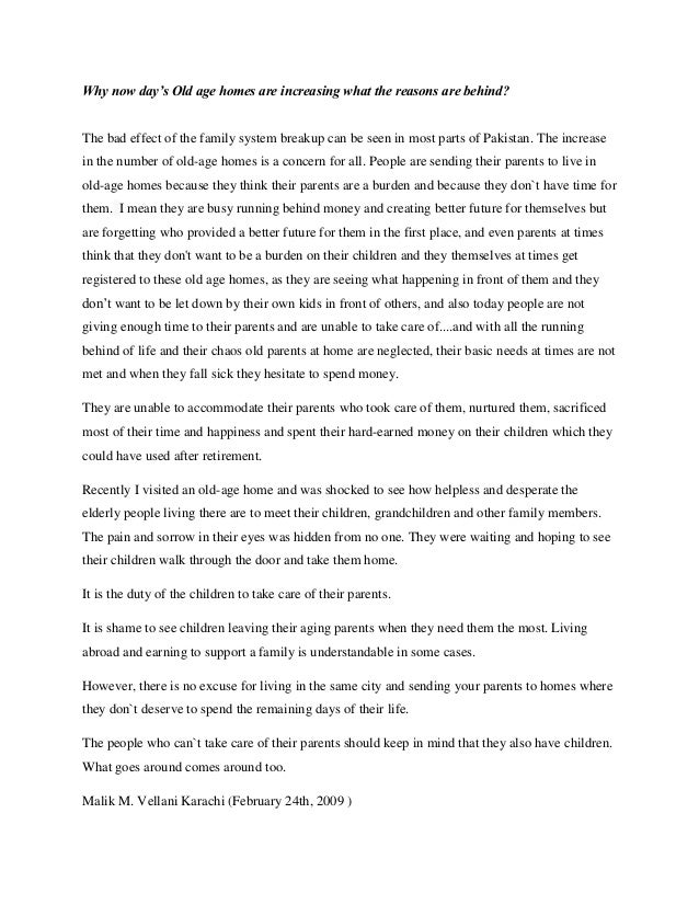 Old age homes good or bad essays