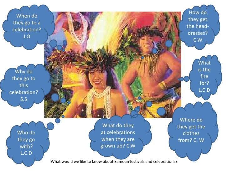 How do they get the head-dresses? C.W<br />When do they go to a celebration? J.O<br />What is the fire for? L.C.D<br />Why...