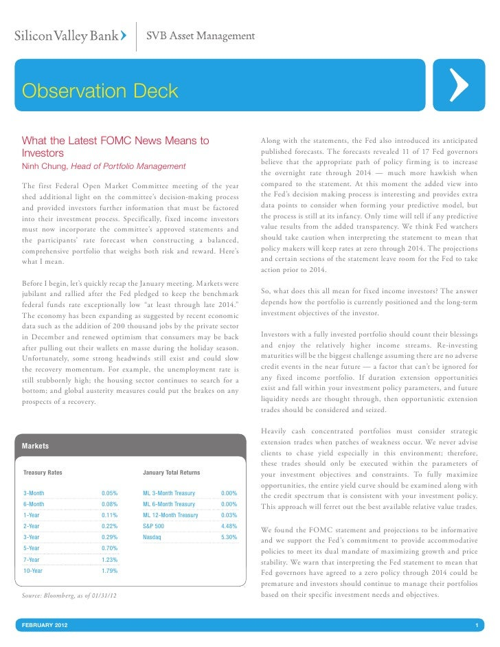 Observation DeckWhat the Latest FOMC News Means to                                      Along with the statements, the Fed...