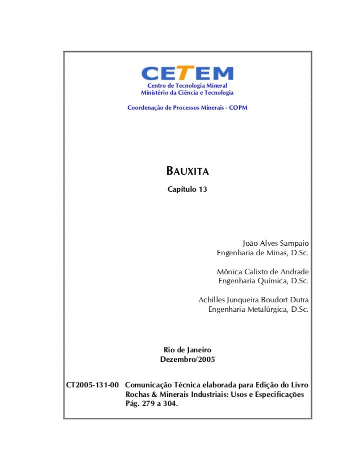 Centro de Tecnologia Mineral                    Ministério da Ciência e Tecnologia                Coordenação de Processos...