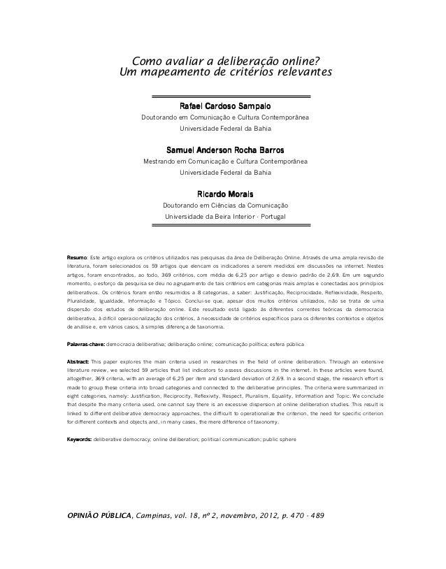 Como avaliar a deliberação online?                     Um mapeamento de critérios relevantes                              ...