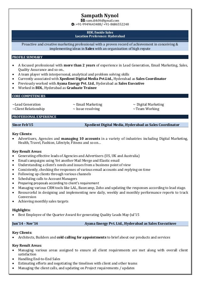 sampath resume