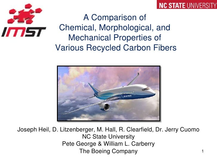 A Comparison of Chemical, Morphological, and Mechanical Properties of Various Recycled Carbon Fibers<br />Joseph Heil, D. ...