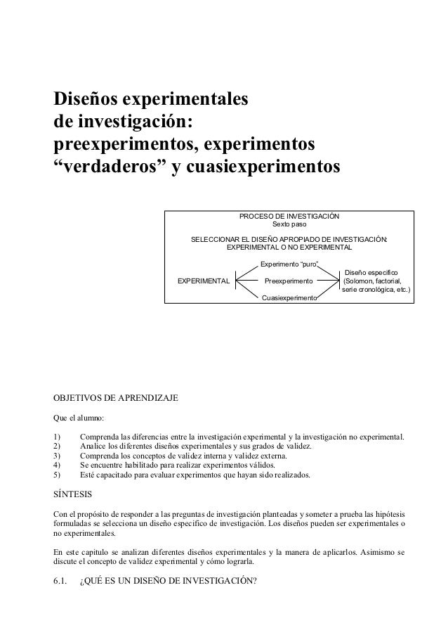 """Diseños experimentalesde investigación:preexperimentos, experimentos""""verdaderos"""" y cuasiexperimentos                      ..."""