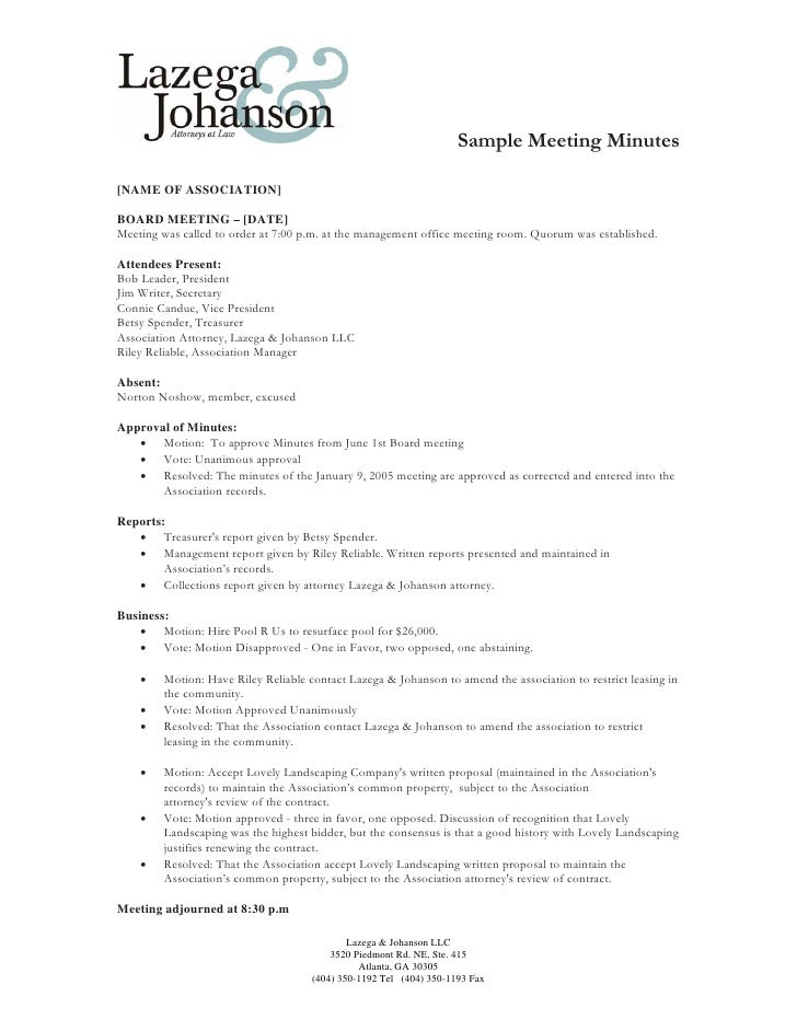 member meeting minutes template