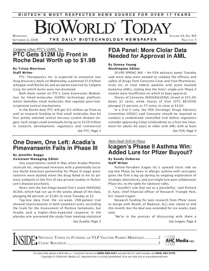 BIOTECH'S MOST RESPECTED NEWS SOURCE FOR OVER 17 YEARS     WEDNESDAY                                                      ...