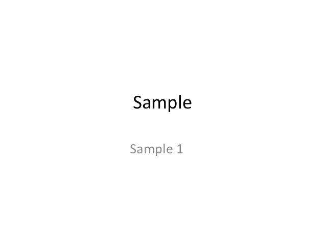 Sample Sample 1