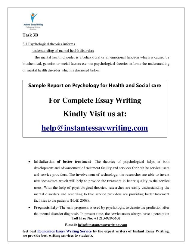 Sample On Psychology For Health And Social Care By Instant Essay Writ