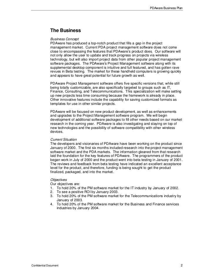 Software development business plan sample