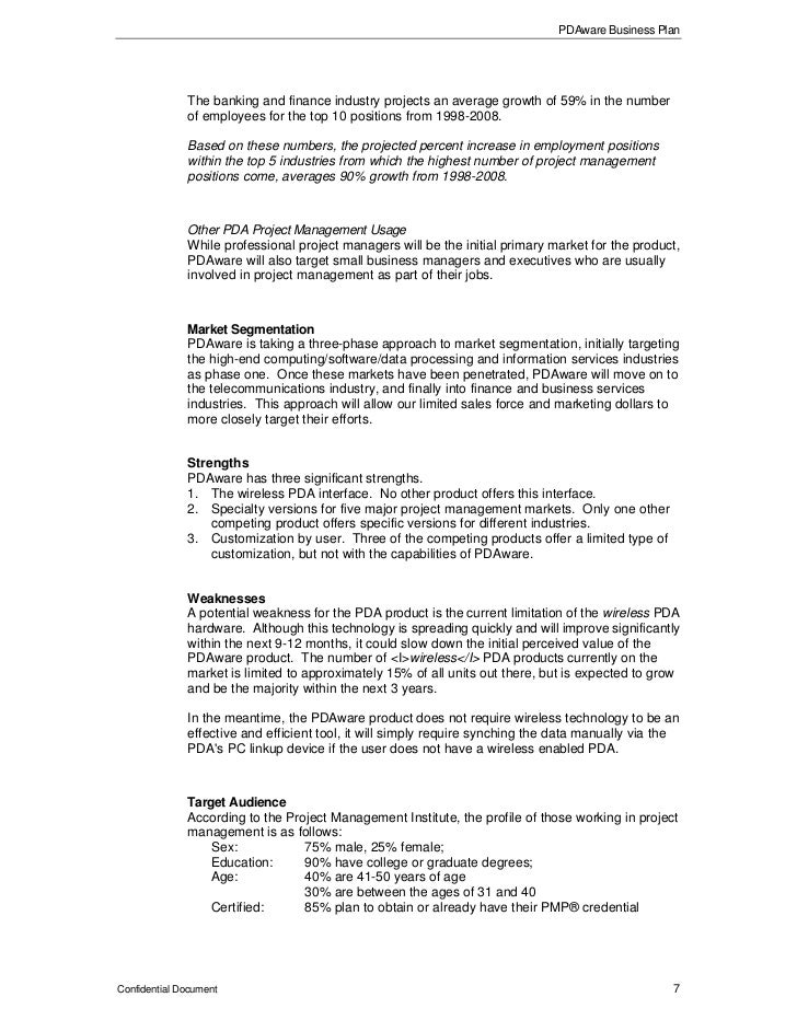 pdaware business plan