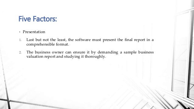 Sample business valuation report for the right business