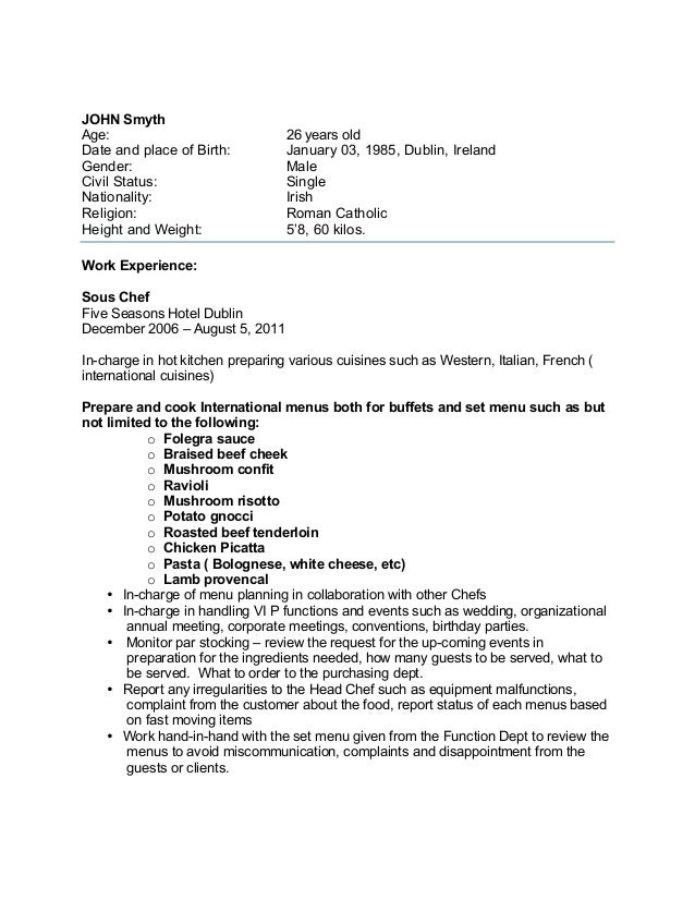 sample chef cv for overseas jobs john smyth age 26 years old date and place of birth january 03