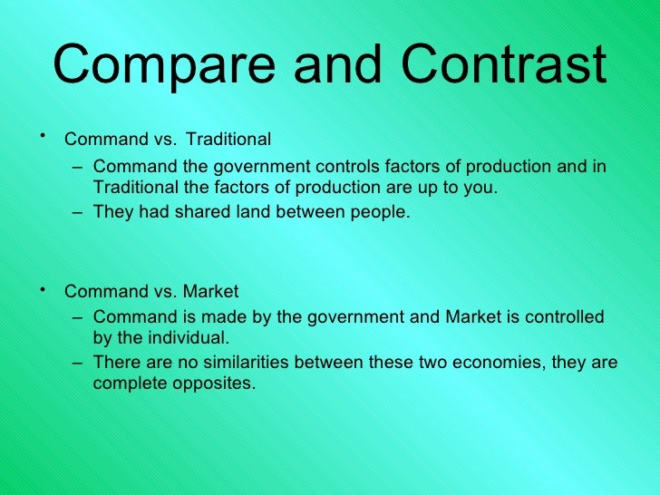 command vs market economy Ilo: a) the distinction between free market, mixed and command economies:  reference to adam smith, friedrich hayek and karl marx b) the advantages and .