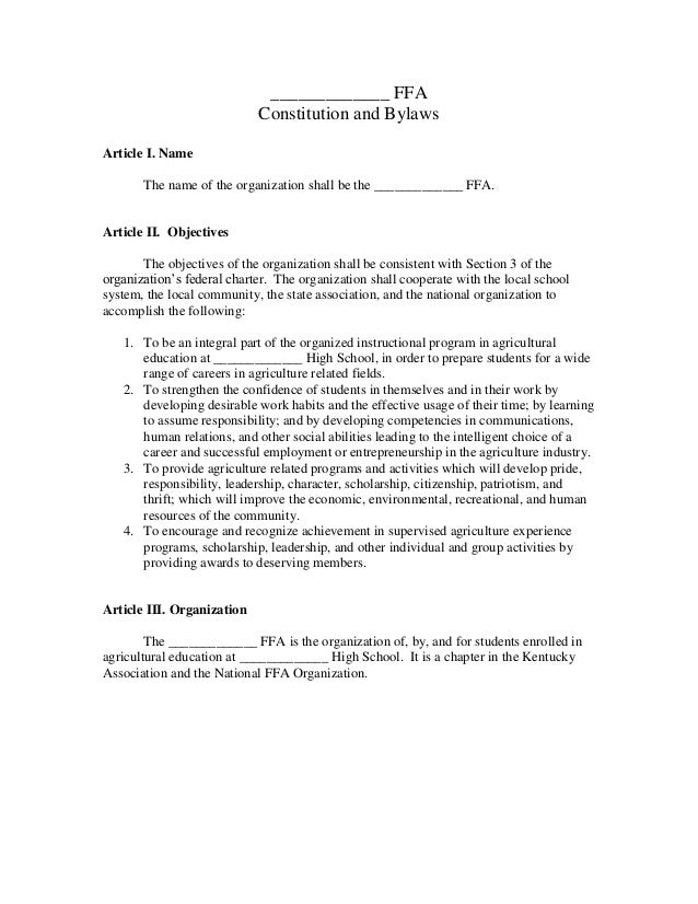 Sample constitution for Constitution and bylaws template