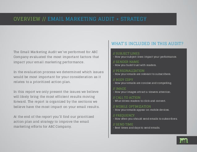 Email Marketing Audit Sample Report