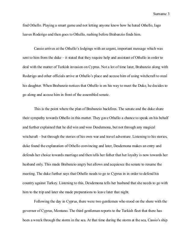 sample essay on othello 5